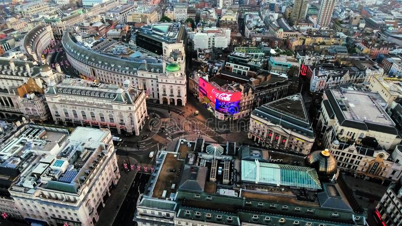 Aerial View Image of Iconic Landmark Piccadilly Circus in London City Center. Aerial View Photo of Iconic Landmark Piccadilly Circus Commercial Signs feat stock image
