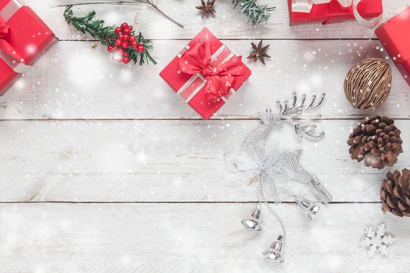 Aerial view image of Merry Christmas decorations & Happy New Year ornaments concept. stock image