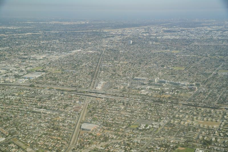 Aerial view of the Imperial Courts and Compton area. At Los Angeles county, California stock images