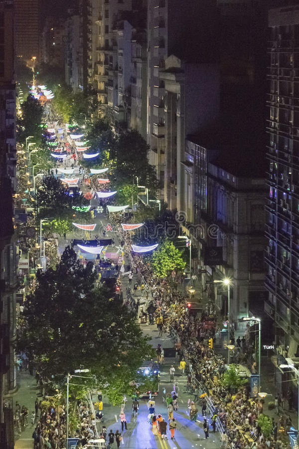 Aerial View Inagural Parade of Carnival in Montevideo Uruguay. MONTEVIDEO, URUGUAY, JANUARY - 2016 - Aerial view of 18 de Julio avenue at inagural parade of stock photo