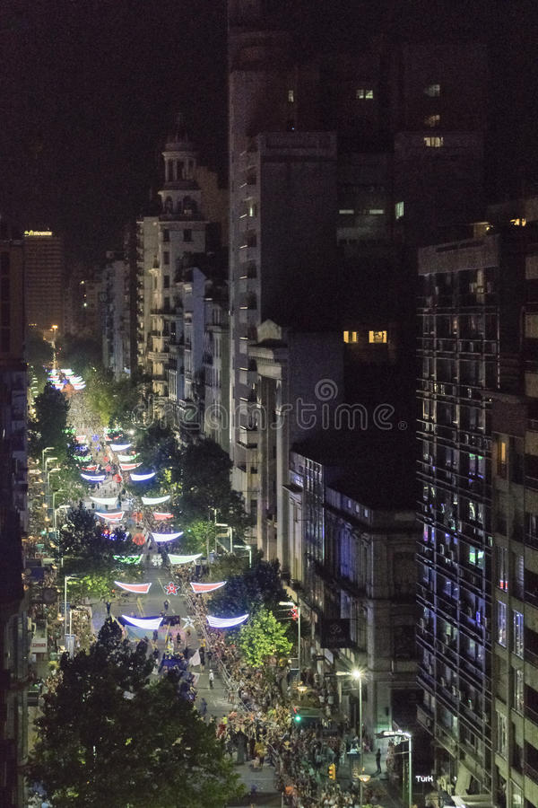 Aerial View Inagural Parade of Carnival in Montevideo Uruguay. MONTEVIDEO, URUGUAY, JANUARY - 2016 - Aerial view of 18 de Julio avenue at inagural parade of royalty free stock photography