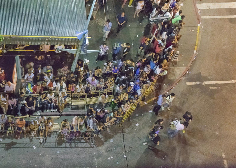 Aerial View Inagural Parade of Carnival in Montevideo Uruguay. MONTEVIDEO, URUGUAY, JANUARY - 2016 - Aerial view of 18 de Julio avenue at inagural parade of royalty free stock images