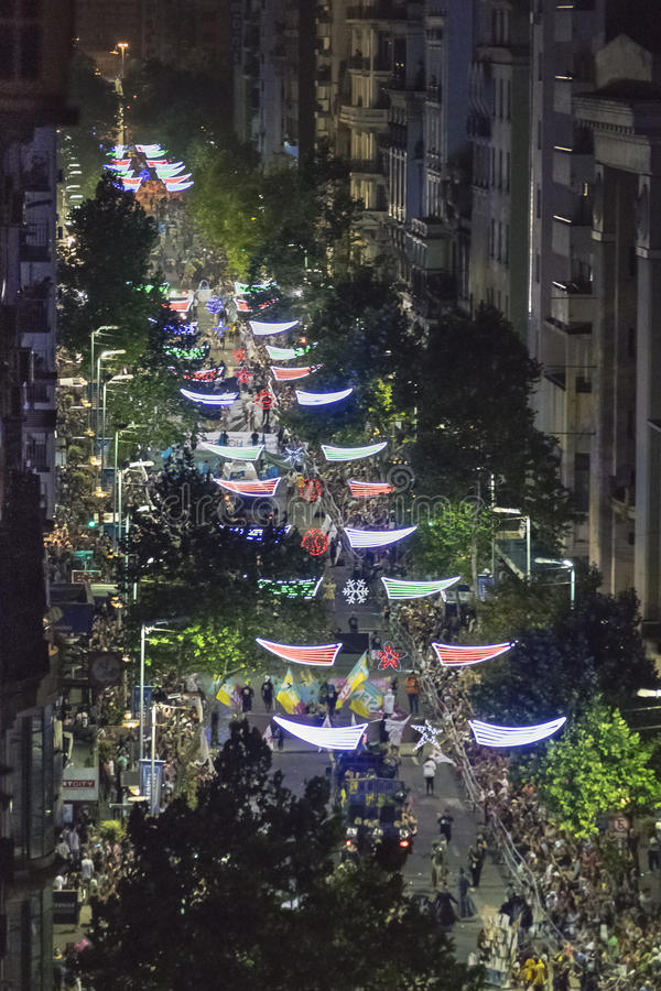 Aerial View Inagural Parade of Carnival in Montevideo Uruguay. MONTEVIDEO, URUGUAY, JANUARY - 2016 - Aerial view of 18 de Julio avenue at inagural parade of royalty free stock photo
