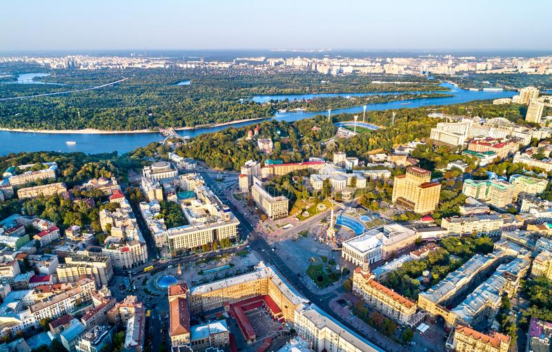 Aerial view of Independence Square - Maidan Nezalezhnosti and other landmarks in Kiev, Ukraine. Aerial view of Independence Square - Maidan Nezalezhnosti and royalty free stock photos