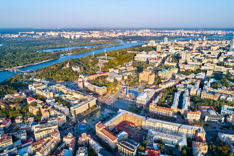 Aerial view of Independence Square - Maidan Nezalezhnosti and other landmarks in Kiev, Ukraine. Aerial view of Independence Square - Maidan Nezalezhnosti and stock photography