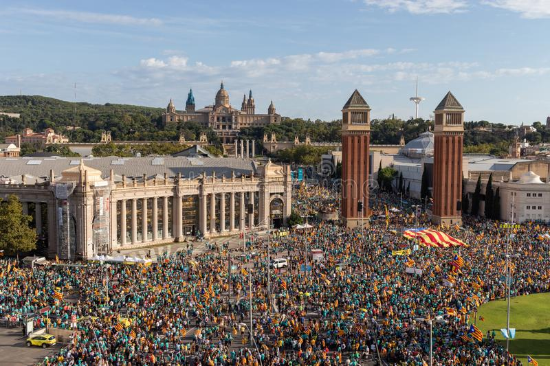 Aerial view of the independentist rally at Plaza Espanya. La Diada, Catalonia's National Day stock image