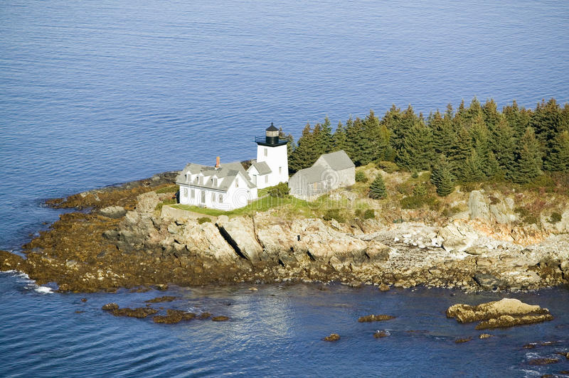 Aerial view of Indian Island Lighthouse in Rockport, Maine royalty free stock images