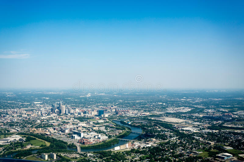 Aerial view of Indianapolis, IN river and skyline stock photo