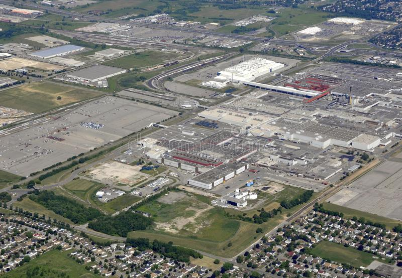 Oshawa industrial aerial. Aerial view of an industrial area in Oshawa, Ontario Canada royalty free stock photography
