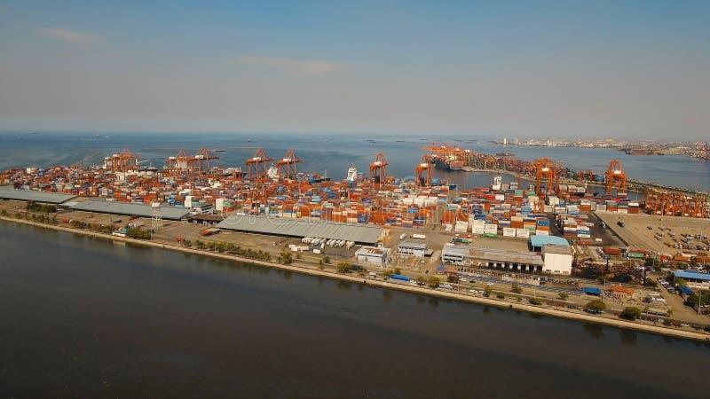 Cargo industrial port aerial view. Manila, Philippines. stock images