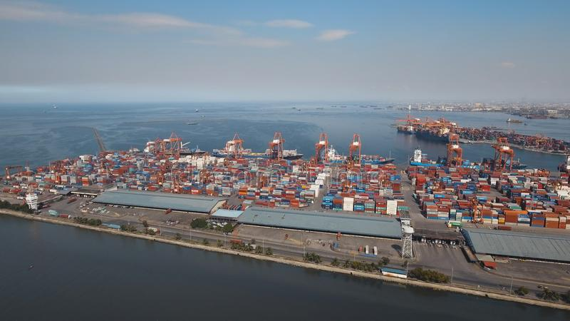 Cargo industrial port aerial view. Manila, Philippines. royalty free stock photos