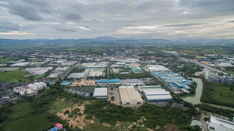 Aerial view of Industrial Estate northern thailand. Lamphun, thail royalty free stock photos