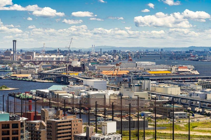 Aerial view industrial Kobe stock photo
