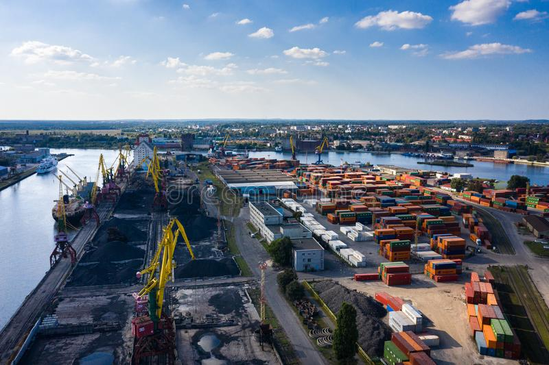 Aerial view of the industrial port of Kaliningrad, Russia stock images