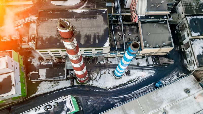 Aerial view of industrial steel plant. Aerial sleel factory. Flying over smoke steel plant pipes. Environmental pollution. Smoke royalty free stock photography
