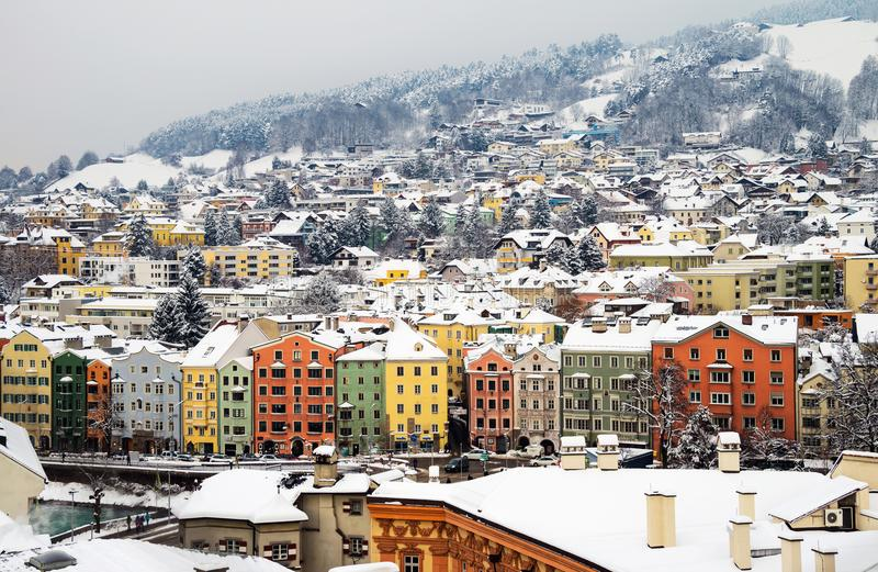 Aerial view of Innsbruck, Austria during the winter morning. Innsbruck, Austria. Aerial view of Innsbruck, Austria during the winter morning, with snow and stock images