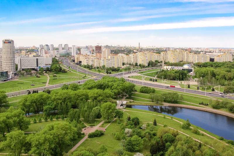 Aerial view of the intersection of prospectuses of Winners and Masherova, Stella, Park. Minsk, Belarus 20 may 2017 royalty free stock images