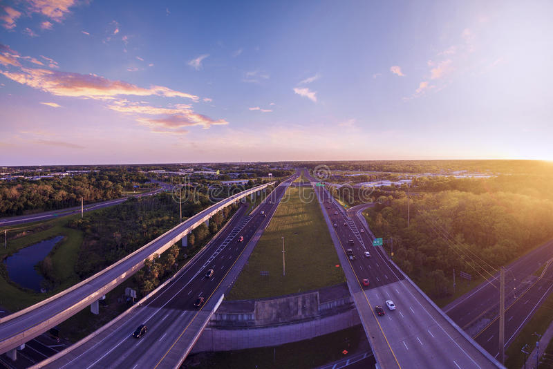Aerial view Interstate 4 in Sanford Florida. Aerial view of Interstate 4 in Sanford. Highway of Florida royalty free stock image