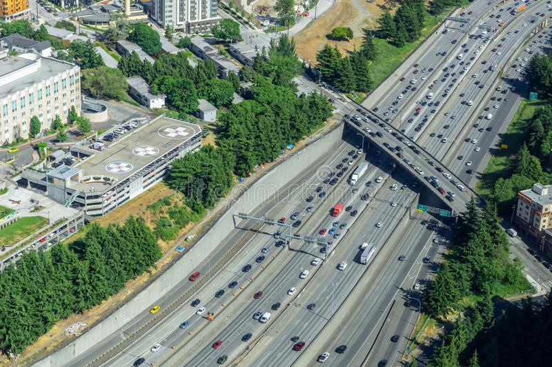 Aerial view of the Interstate 5 traffic royalty free stock photos