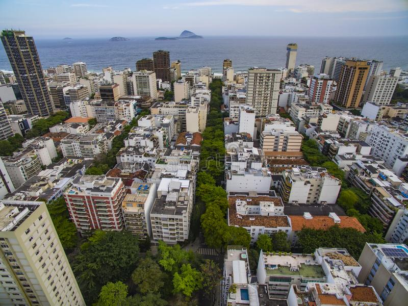Aerial view of the Ipanema district, Rio de Janeiro Brazil royalty free stock images