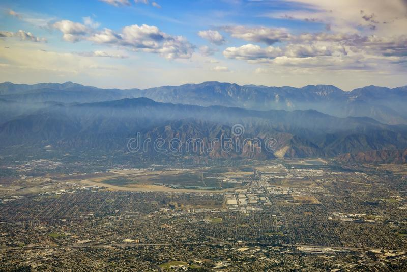 Aerial view of Irwindale, West Covina, view from window seat in royalty free stock images