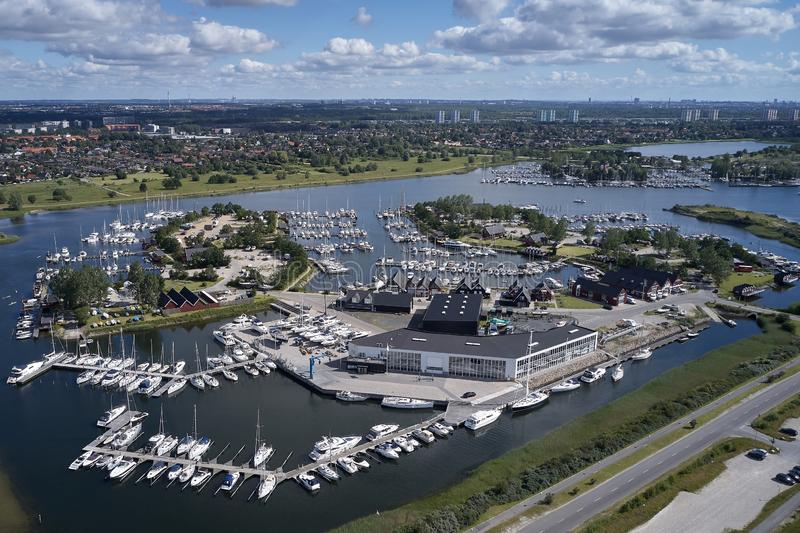 Aerial view of Ishoej harbour, denmark. Aerial view of Ishoej habour located on Zealand in Denmark stock images