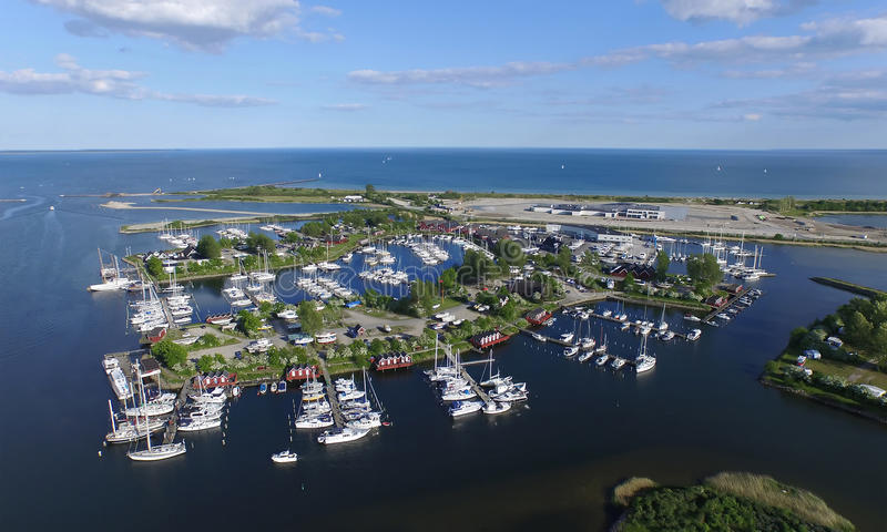 Aerial view of Ishoej harbour, denmark. Aerial view of Ishoej habour located in Zealand Denmark stock photos