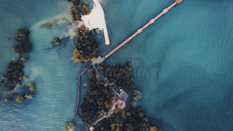 Aerial View Of Island stock photo