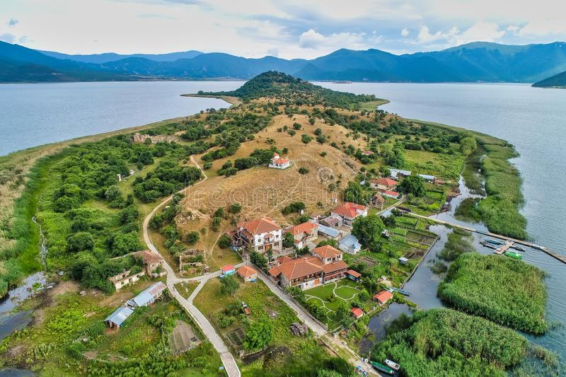 Aerial view of island of Agios Achilios in lake Small Prespes. Northern Greece royalty free stock photos
