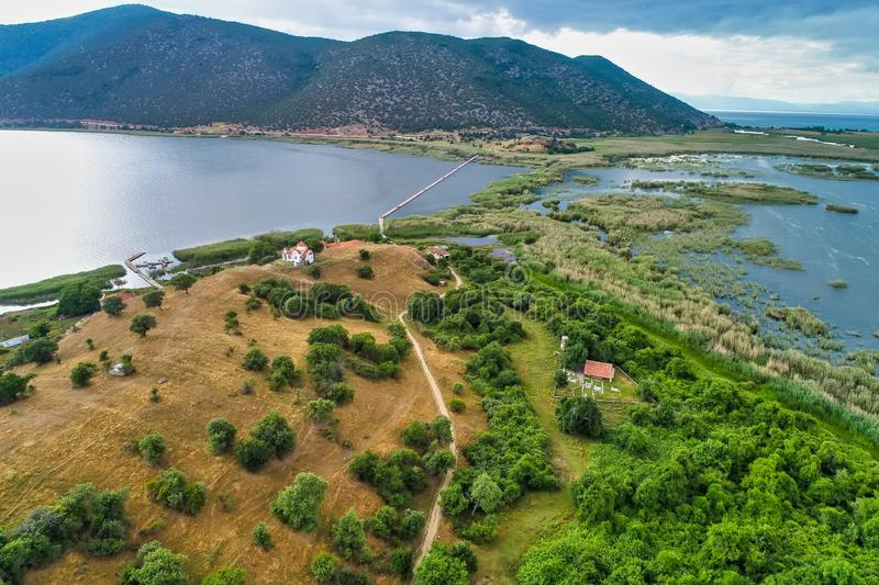 Aerial view of island of Agios Achilios in lake Small Prespes. Northern Greece royalty free stock photography