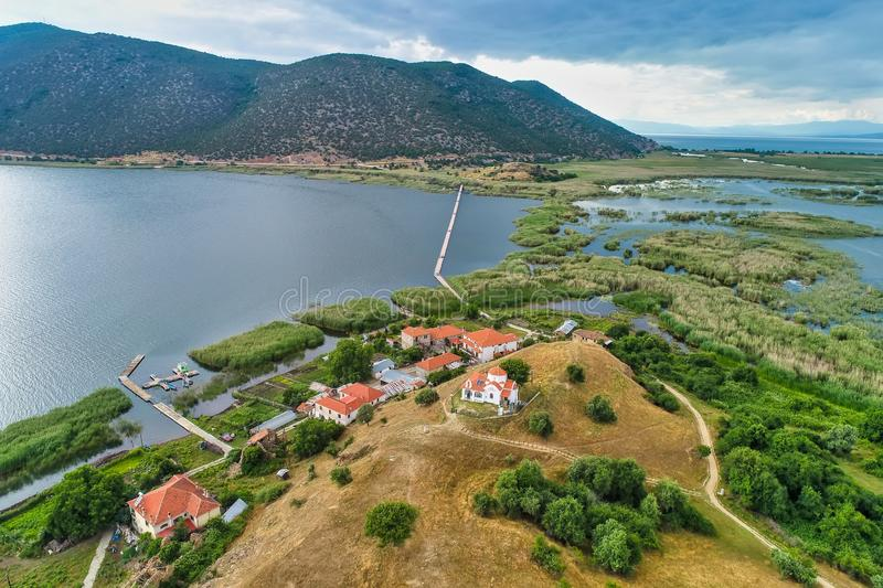Aerial view of island of Agios Achilios in lake Small Prespes. Northern Greece royalty free stock image