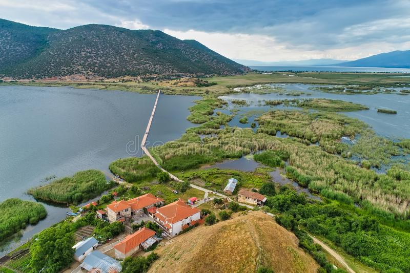 Aerial view of island of Agios Achilios in lake Small Prespes. Northern Greece stock photography