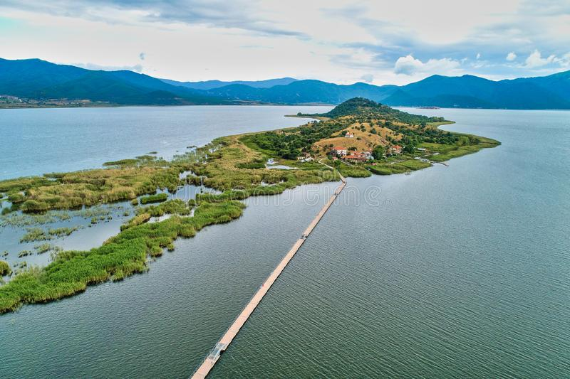 Aerial view of island of Agios Achilios in lake Small Prespes. Northern Greece stock photo