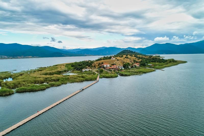 Aerial view of island of Agios Achilios in lake Small Prespes. Northern Greece stock image