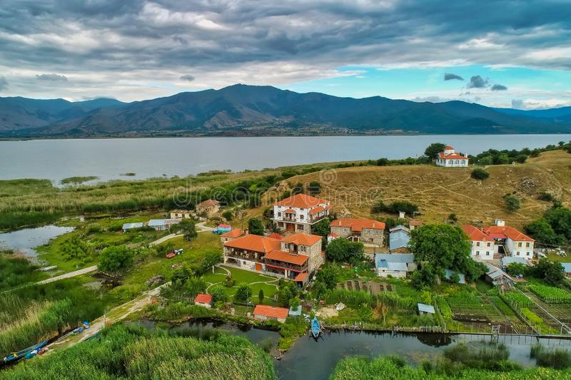 Aerial view of island of Agios Achilios in lake Small Prespes. Northern Greece royalty free stock images