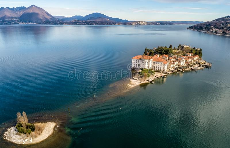 Aerial view of Island Bella at Lake Maggiore, is one of the Borromean Islands in Piedmont of north Italy, Verbania. Aerial view of Island Bella at Lake Maggiore royalty free stock photo