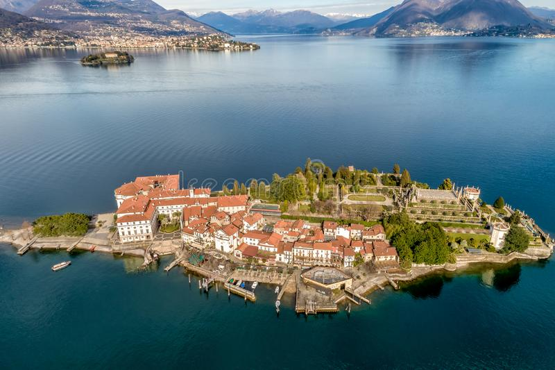 Aerial view of Island Bella at Lake Maggiore, is one of the Borromean Islands in Piedmont of north Italy, Verbania. Aerial view of Island Bella or Isola Bella at royalty free stock photo
