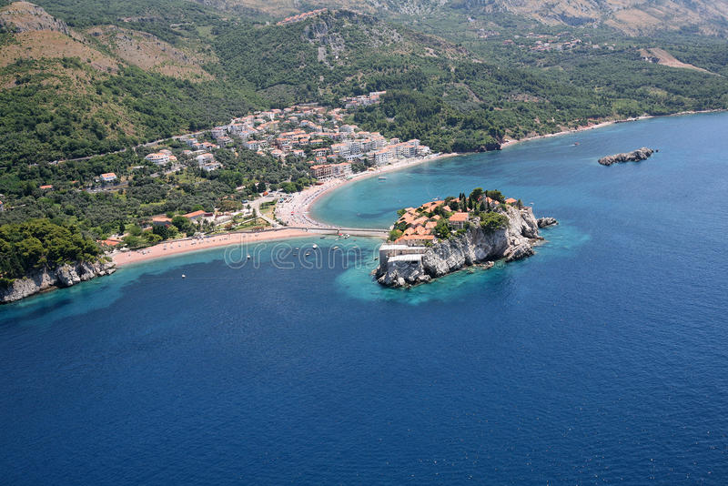 Aerial view of the island Sveti Stefan, Montenegro. Aerial view of the island Sveti Stefan - the main attraction of Montenegro royalty free stock photos