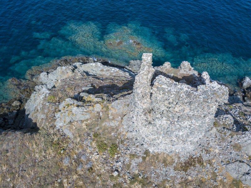 Aerial view of the islands of Finocchiarola, Mezzana, A Terra, Peninsula of Cap Corse, Corsica. stock images