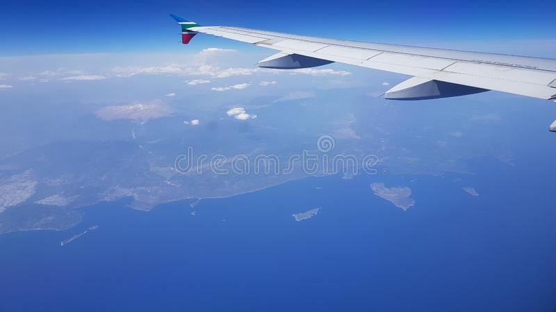 Aerial view of the islands of Greece, Kastellorizo, Dodecanese Islands. Greece. June, 2019 royalty free stock image