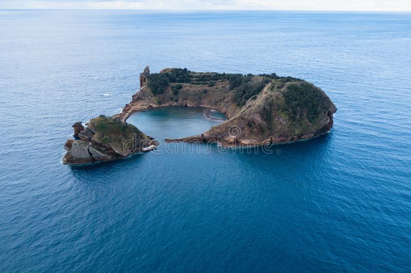Aerial view of the Islet of Vila Franca do Campo, Azores royalty free stock photos
