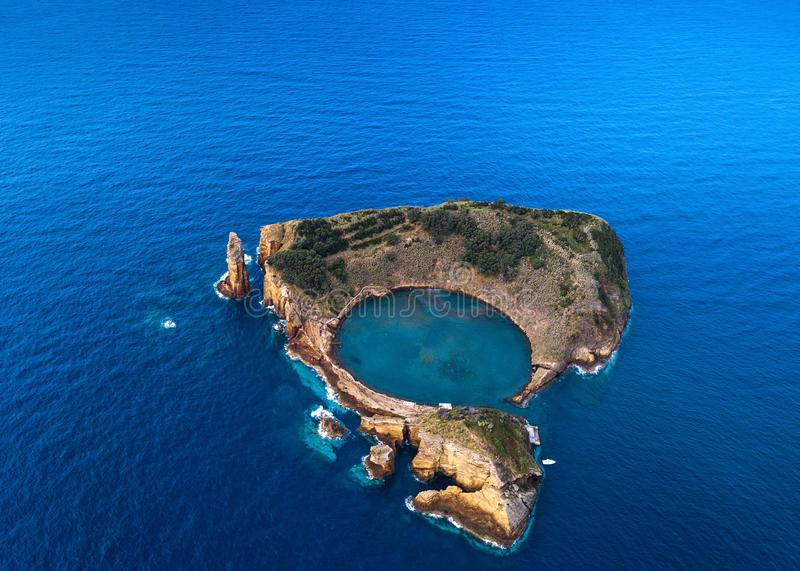 Aerial view of the Islet of Vila Franca do Campo - Azores islands royalty free stock photography