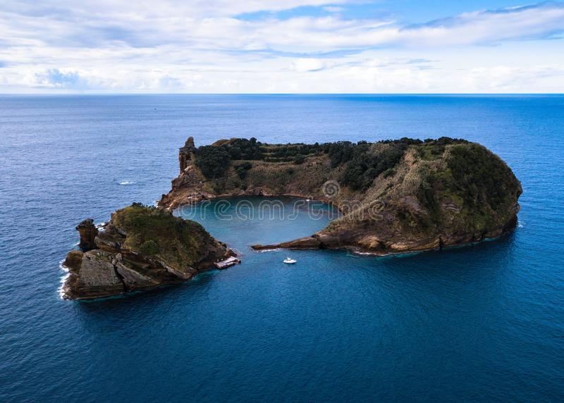 Aerial view of the Islet of Vila Franca do Campo - Azores islands stock photography