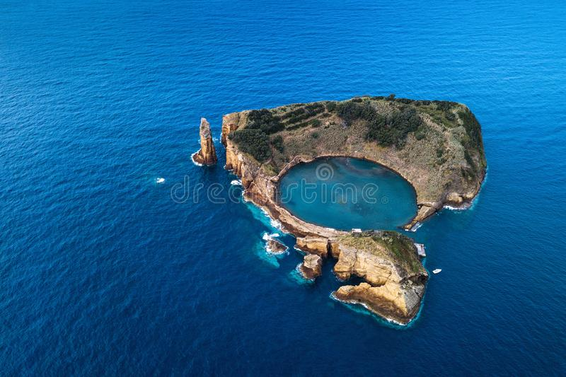 Aerial view of the Islet of Vila Franca do Campo formed by the crater of an old underwater volcano, Azores royalty free stock photo