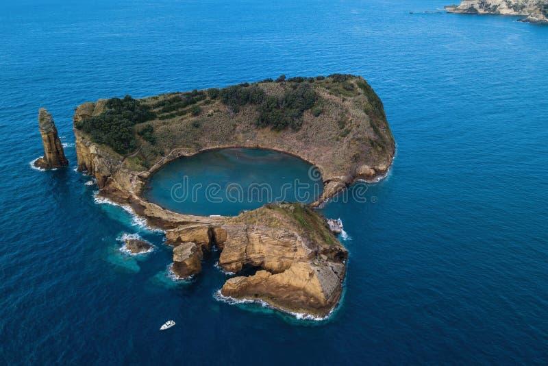 Aerial view of Islet of Vila Franca do Campo near San Miguel island, Azores stock photos