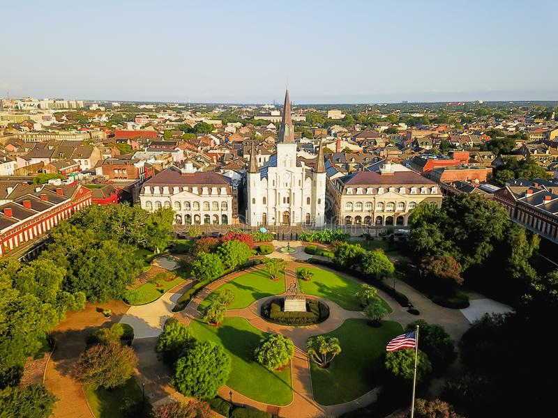 Aerial Jackson Square Saint Louis Cathedral church in New Orleans, Louisiana. Aerial view of Jackson Square with Saint Louis Cathedral church and surrounding royalty free stock photos