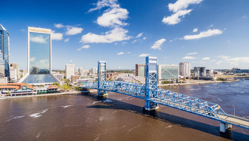 Aerial view of Jacksonville skyline on a sunny day, Florida, USA stock photo