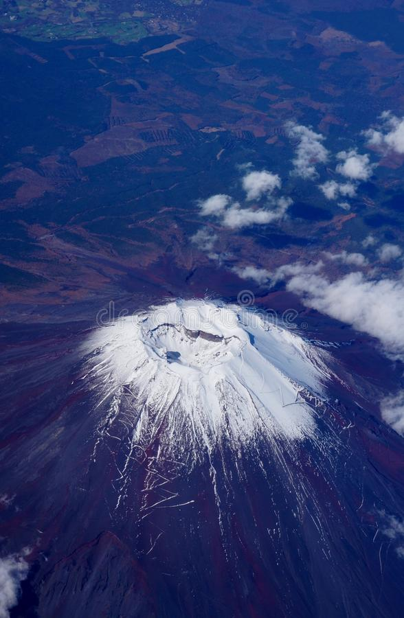 Aerial view of Japan's Mount Fuji volcano. With a small snowcap royalty free stock photos