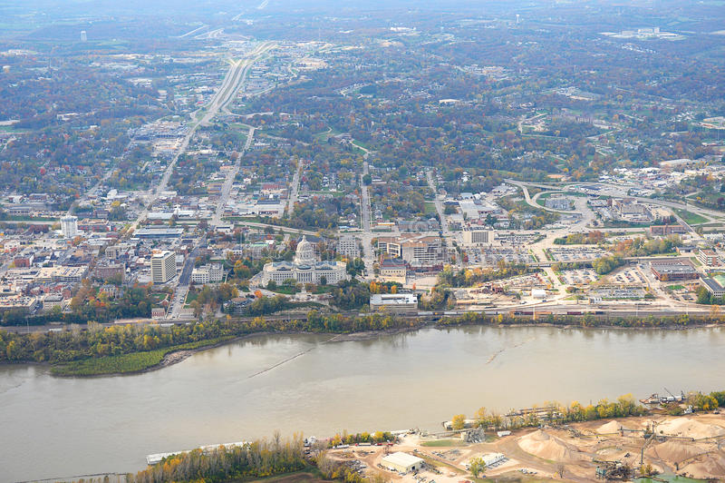 Aerial View of Jefferson City Missouri. Aerial view of Jefferson City with Missouri River in front royalty free stock photo