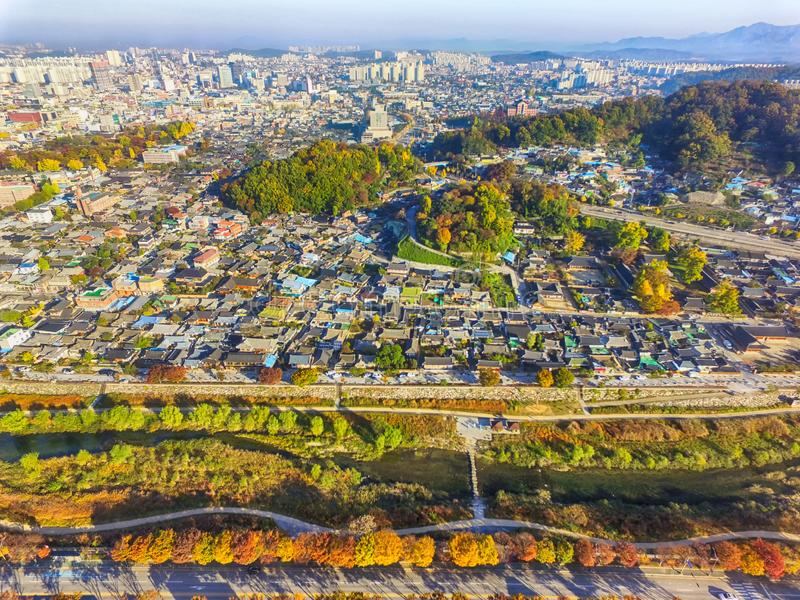 Aerial View of Jeonju Hanok Village Traditional Korean Town, Jeonju, Jeollabukdo, South Korea royalty free stock images